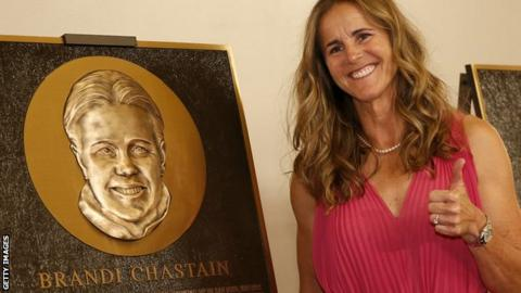 Brandi Chastain's hall of fame plaque is unbelievable