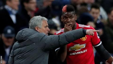 Manchester United manager Joe Mourinho (left) and midfielder Paul Pogba