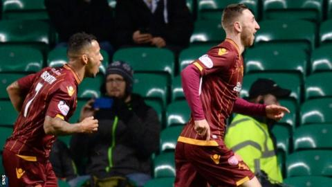 Motherwell's Lionel Ainsworth and Louis Moult celebrate