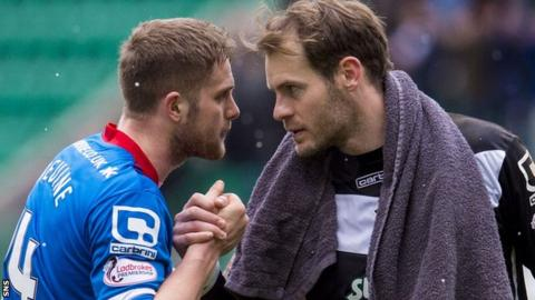 Inverness Caledonian Thistle's Danny Devine and Owain Fon Williams
