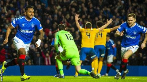 Alfredo Morelos (left) came off the bench to score the only goal at Ibrox