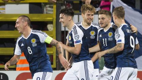 Scott Brown, Kieran Tierney, Stuart Armstrong, James Forrest and Leigh Griffiths celebrate Armstrong's goal for Scotland against Lithuania