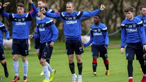 The Rangers squad in training