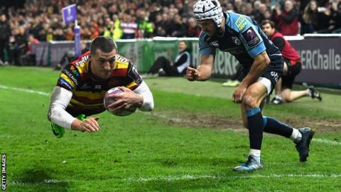 Gloucester's Jonny May scores against Cardiff Blues