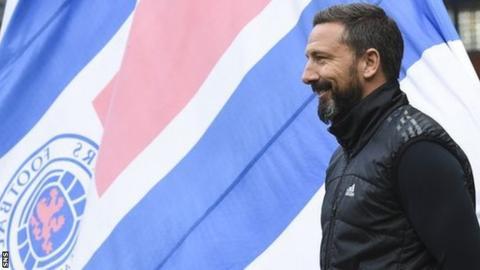Aberdeen manager Derek McInnes in front of a Rangers fans' flag