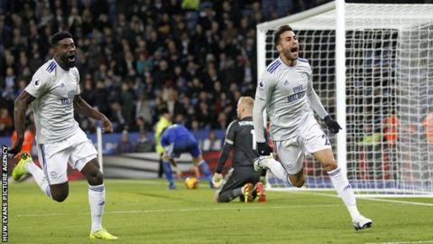 Victor Camarasa celebrates scoring Cardiff City's late winner against Leicester City in December