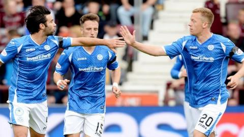 Simon Lappin and Scott Brown celebrate with St Johnstone
