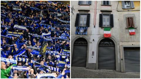 Atalanta flags and the streets of Bergamo
