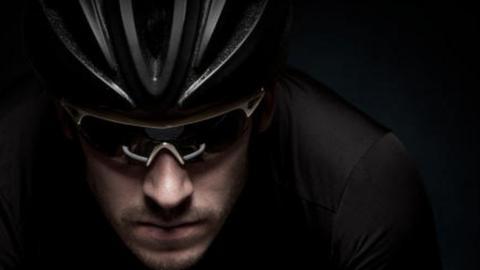 cyclist wearing helmet