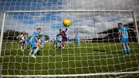 Edinburgh City's Ousman See scores against Berwick Rangers