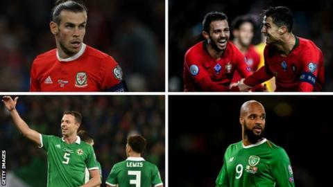 Wales, Portugal, Northern Ireland and Republic of Ireland