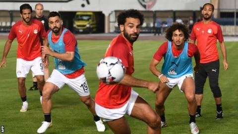 Mohamed Salah training with Egypt