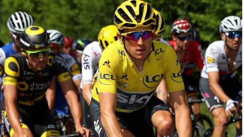 Geraint Thomas in the yellow jersey at the Tour de France