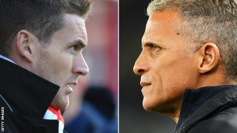 Matt Taylor (left) and Keith Curle