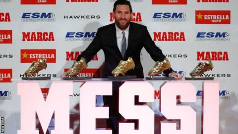 723863ed0fa Lionel Messi has won the Golden Shoe award five times (2009-10, 2010-11,  2012-13, 2016-17, 2017-18)