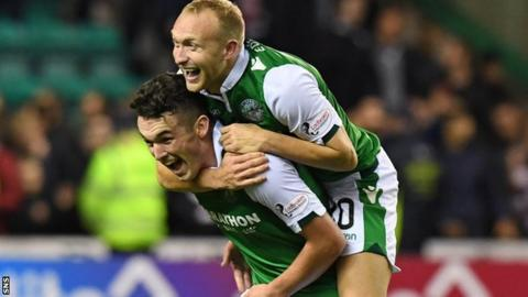 John McGinn and Dylan McGeouch celebrate Hibs' victory over Hearts
