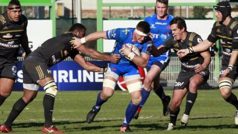 Ed Jackson carries the ball for Newport Gwent Dragons against Brive