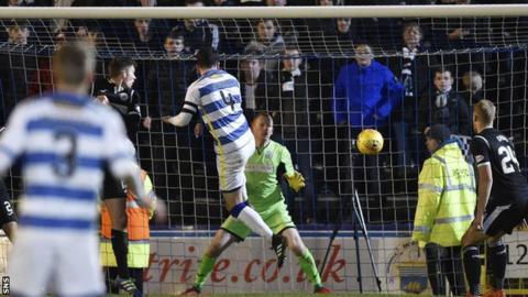 Morton's Thomas O'Ware scores against St Mirren