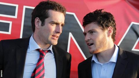 Down's Kevin McKernan and Marty Clarke