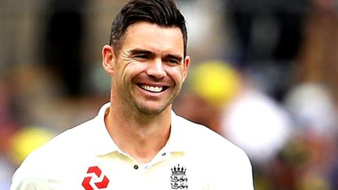 James Anderson smiles during the second Test