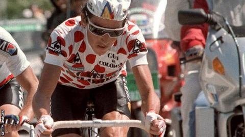 Luis 'Lucho' Herrera riding at the 1985 Tour de France