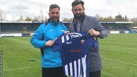 Nicky Eaden (left) was Nuneaton manager when new owner Nick Hawkins arrived on 2 November