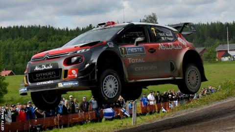Kris Meeke and Paul Nagle in action during the second day of the WRC Finland