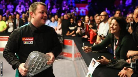 Mark Allen celebrates his Masters success last year after overcoming Kyren Wilson in London