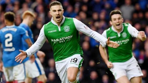 Jamie MacLaren celebrates scoring for Hibernian against Rangers in February