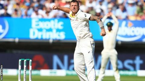 Australia fast bowler James Pattinson celebrates taking a wicket