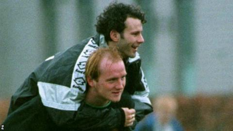 John Hartson gives Ryan Giggs a piggyback during Wales training in March, 1997