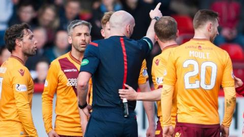 Keith Lasley was sent off by referee Bobby Madden