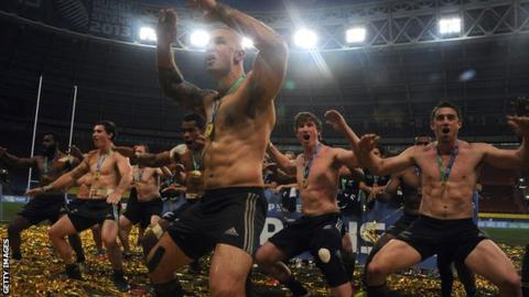 New Zealand celebrate winning the sevens World Cup