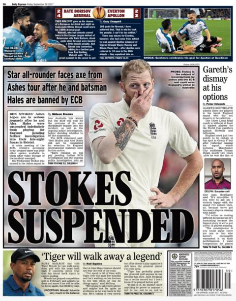 The Express back page on Friday