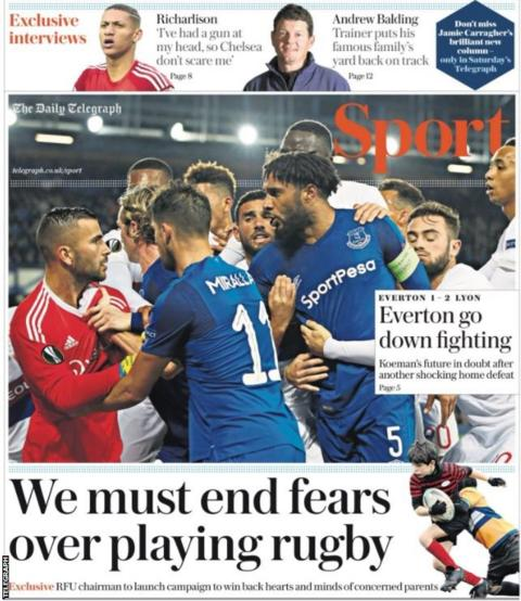 The Telegraph says Ronald Koeman's future is in doubt after Everton's home defeat in the Europa League