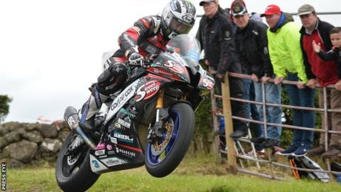 Michael Dunlop takes to the air on his way to victory in Saturday's Supersport race at Armoy