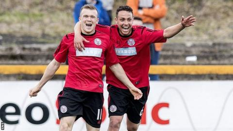 Liam Watt celebrates scoring for Brechin City against Alloa Athletic
