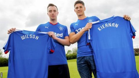 Rangers defender Danny Wilson and Rob Kiernan