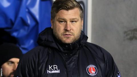 Charlton boss Karl Robinson looks on from the sidelines