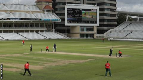 A batsman plays a shot during a trial match for The Hundred at Trent Bridge
