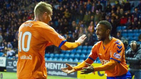 Rangers' Steven Davis and Jermain Defoe celebrate against Kilmarnock