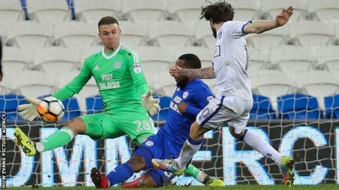 Cardiff City repel a Mansfield attack in the FA Cup match