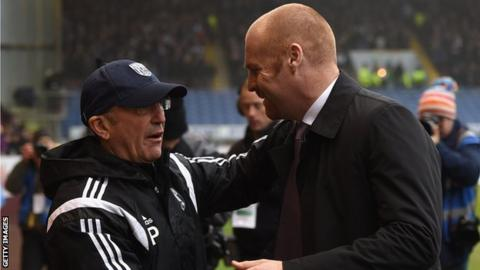 West Brom boss Tony Pulis (left) and Burnley manager Sean Dyche