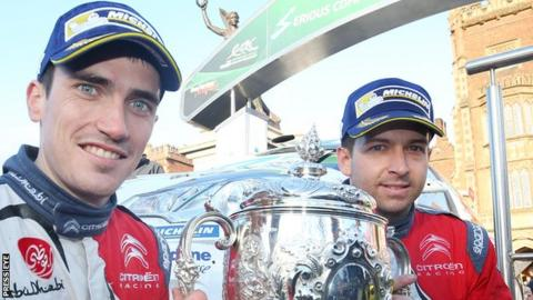 Craig Breen and co-driver Scott Martin celebrate winning the 2016 Circuit of Ireland Rally