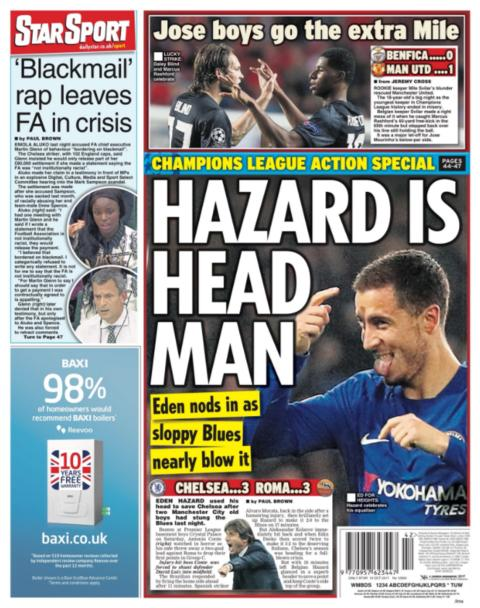 The Daily Star's back page on Thursday