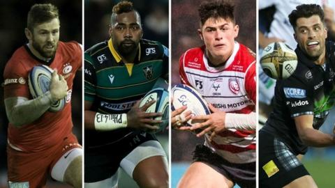 Saracens' Elliot Daly, Northampton's Taqele Naiyaravoro, Gloucester's Louis Rees-Zammit and Glasgow's Adam Hastings