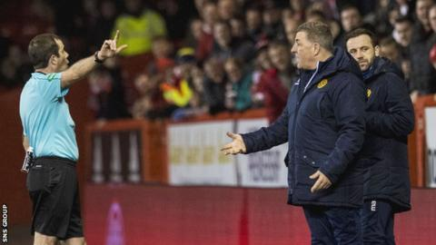 Mark McGhee was sent to the stand by referee Alan Muir