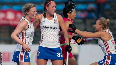 Amy Costello celebrates scoring for Great Britain against Japan