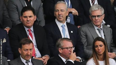 Jason Levien (back left) and Steve Kaplan (back centre) watched Swansea's 2-0 loss at home to Hull with chairman Huw Jenkins (front left)