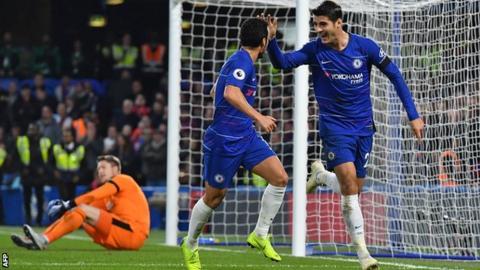Alvaro Morata celebrates scoring for Chelsea against Crystal Palace